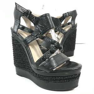 """Balenciaga """"Arena"""" Studded Leather Wedge Sandals"""